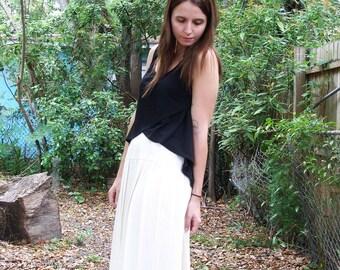 SALE Cream Pleated Midi Skirt