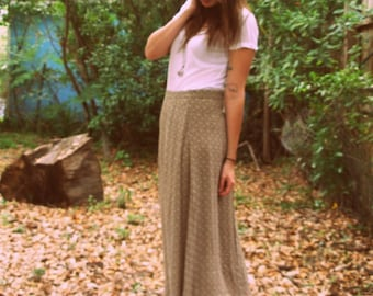 Brown and White Floral Print Maxi Skirt