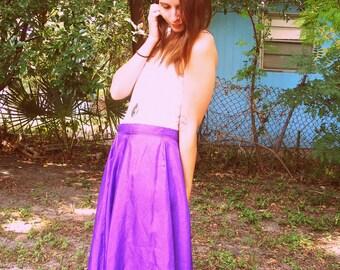 Purple Shiny Midi Circle Skirt