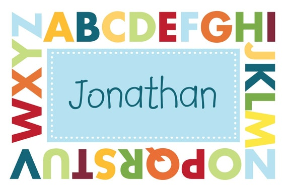 Personalized placemat, educational activity mat (2-sided) ALPHABET by gel Design