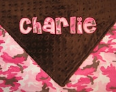Brown & Pink Camo Minky Baby Blanket 30x36 - Personalized Applique Name
