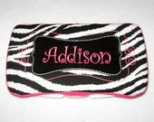 Boutique Personalized Zebra Print with Hot Pink Accents Baby Wipes Case