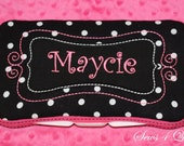 Boutique Personalized Black White Polka Dots with Hot Pink Accents Baby Wipes Case