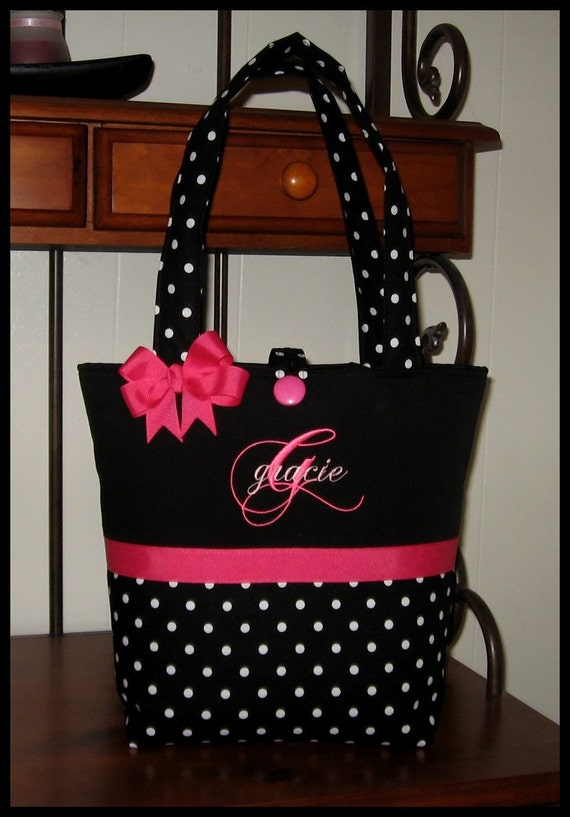 Monogrammed Boutique Black Polka Dots with Hot Pink Accents Diaper Tote Bag