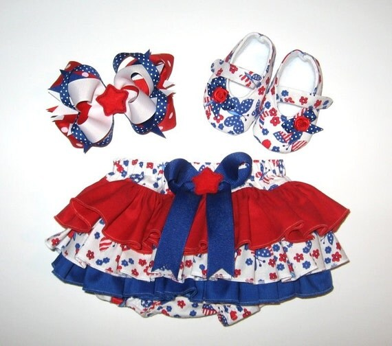 Sweet Patriotic 4th of July Ruffled Diaper Cover with Mary Jane Shoes and Hairbow - Pick Size