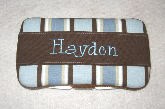 Boutique Personalized Baby Boy Stripes Print with Blue Accents Baby Wipes Case