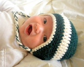 Crochet Baby Ear Flap Hat - Forest Green and Cream