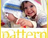PATTERN Peruvian Style Ear Flap Hat (baby) - PDF Crochet Pattern