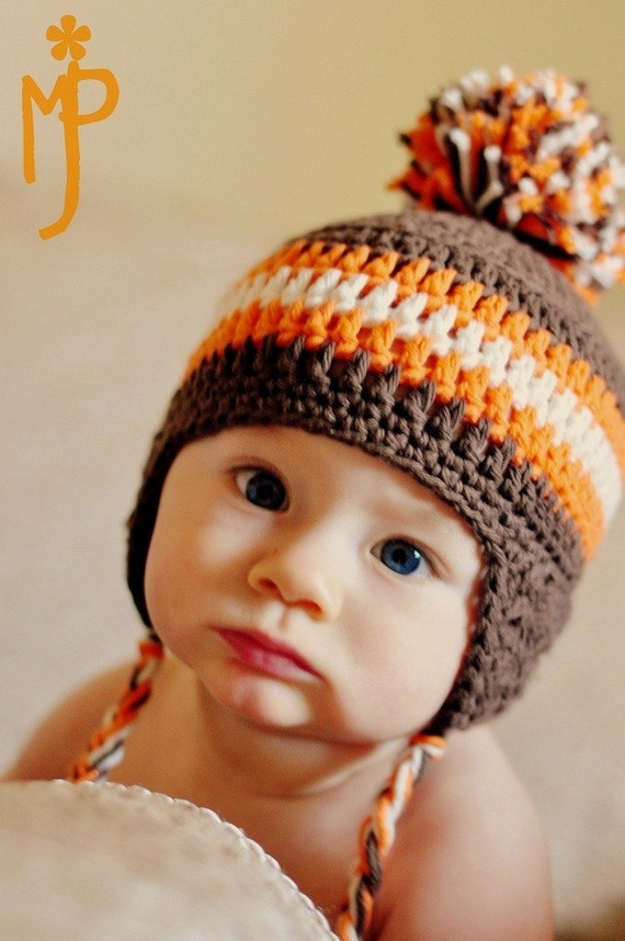 Crochet Pattern For Baby Hat With Ear Flaps : Crochet BABY Ear Flap Hat with Tassels CUSTOM by ...