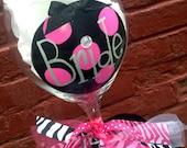 Bride Wine Glass - Polk Dots