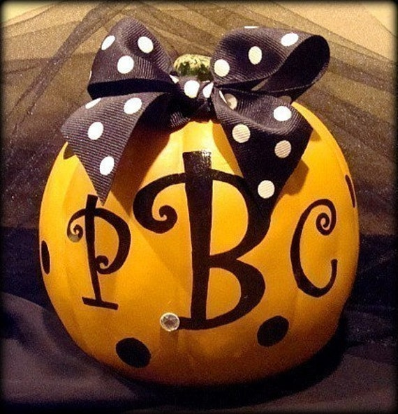 PERSONALIZED  Bow PUMPKIN, Three Letter Monogram