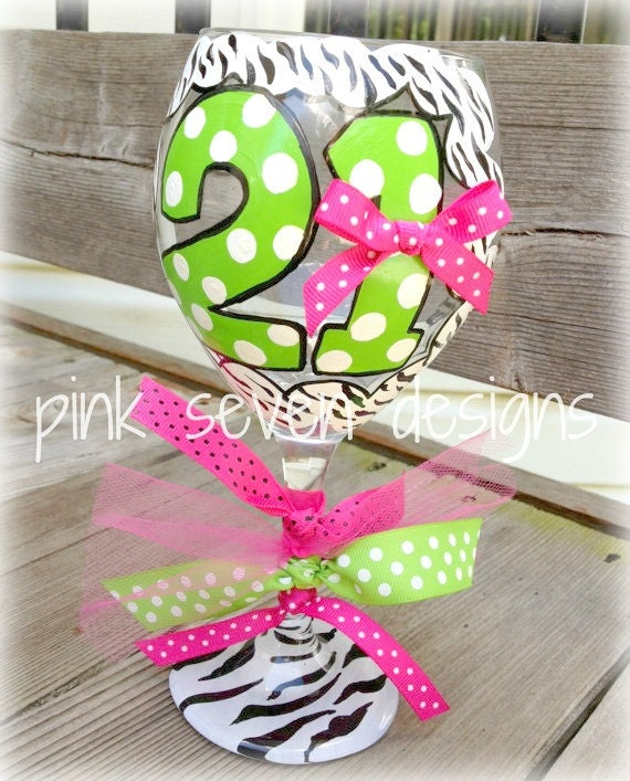 21st Birthday Glass ZEBRA Print