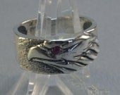 Eagle Head Ring With Ruby in Sterling Silver