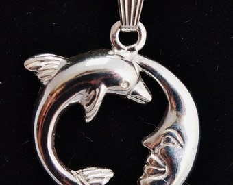 Dolphin and Moon Sterling Silver Pendant