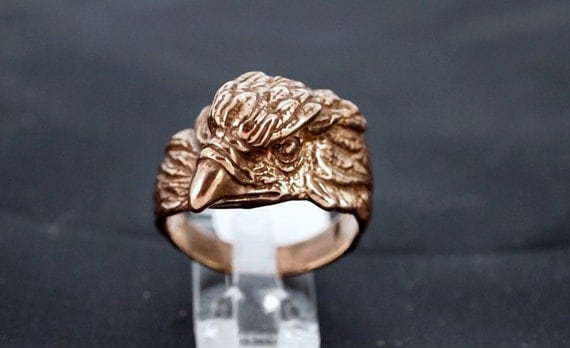 Vintage Style Eagle Head Ring in Antique Bronze