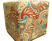 Contemporary Furniture -  Upholstered Ottoman - Paisley Fabric