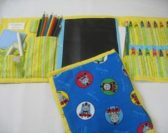 Thomas the Train Art Tote complete with chalkboard, chalk, eraser, paper pad, pencil, crayons, and colored pencils
