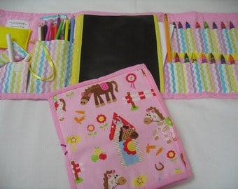 Pink Cowgirl Art Tote complete with chalkboard, chalk, eraser, paper pad, pencil, crayons, and colored pencils