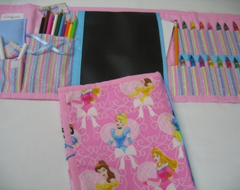 Princess' Heads Art Tote complete with chalkboard, chalk, eraser, paper pad, pencil, crayons, and colored pencils