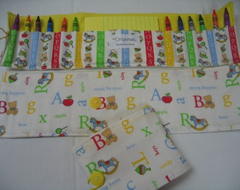 50% OFF ABC Crayon Tote in a colorful print complete with 12 crayons and a paper pad