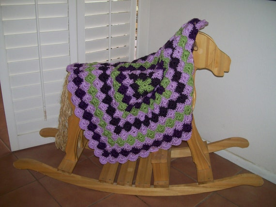 Was 25.00 now 20.00Lilac, Plum & Lime Baby Afghan Receving blanket