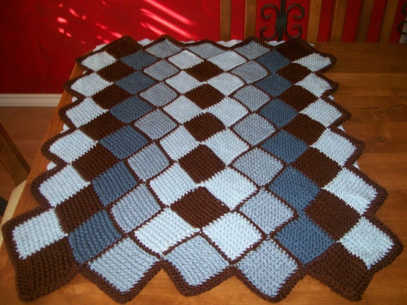 "Baby Blue and Brown Afghan Blanket 32"" x 40"""