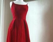 1960's Red Velvet Party Dress
