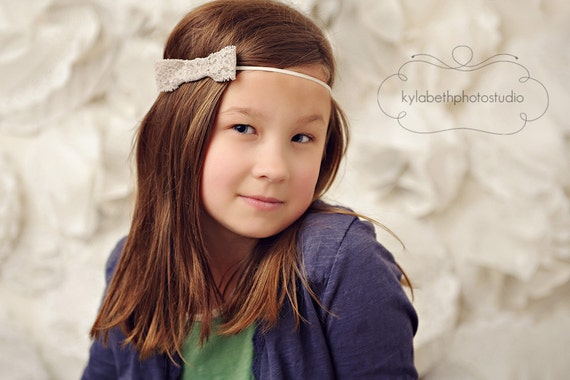 the Claira- a vintage inspired tan/grey lace bow on ivory skinny elastic headband