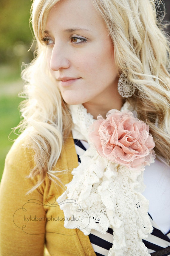 the Reese- large shabby vintage pink lace and chiffon flower hair clip and pin, interchangeable accessory