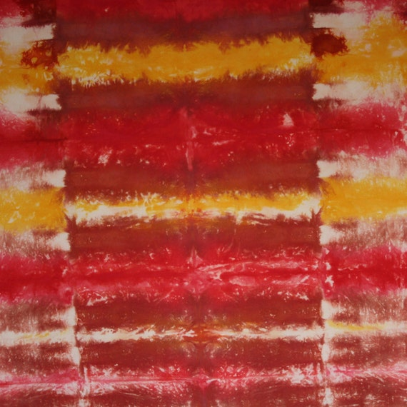 Hand-dyed cotton 1 yard fabric rust, red, yellow - 190