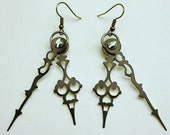 Serpentina Noir Clock Hand Earrings Steampunk Accessory- FREE SHIPPING in the USA