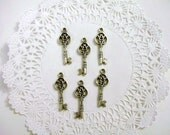 Lot of 6 Silver Key Charms - Antiqued Silver- Double Sided