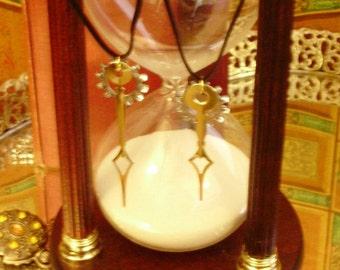 Diamond Amici Aeterni- Best Friends Mated Clock Hand Steampunk Pendant Set w Complimentary Starter Necklaces