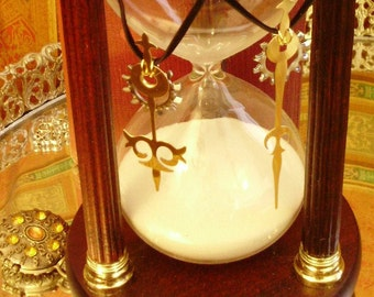 Hasta Amici Aeterni- Best Friends Mated Clock Hand Steampunk Pendant Set w Complimentary Starter Necklaces