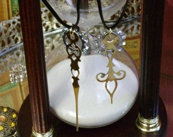 Fleur Amici Aeterni- BFF Mated Clock Hand Steampunk Pendant Set w Complimentary Starter Necklaces in Black, Brass, or Silver