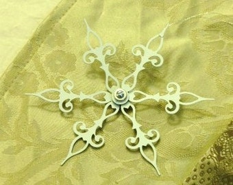 WHITE Snow Flower- Steampunk Clock Hand Holiday Ornament