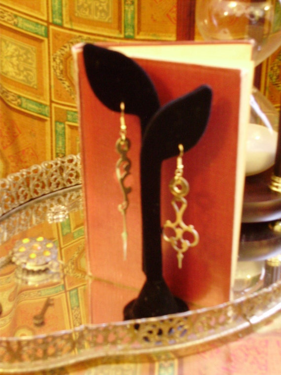 Scroll Mated Clock Hand Earrings- Black or Brass FREE SHIPPING in the USA