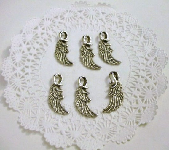 Lot of 6 Wing Charms - Antiqued Silver- Double Sided