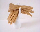 Vintage 60s Gold Metallic Gloves in Original Package Very Mad Men