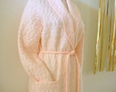 Vintage 60s Pink Mad Men Robe Pink Quilted Robe Size Small to Medium