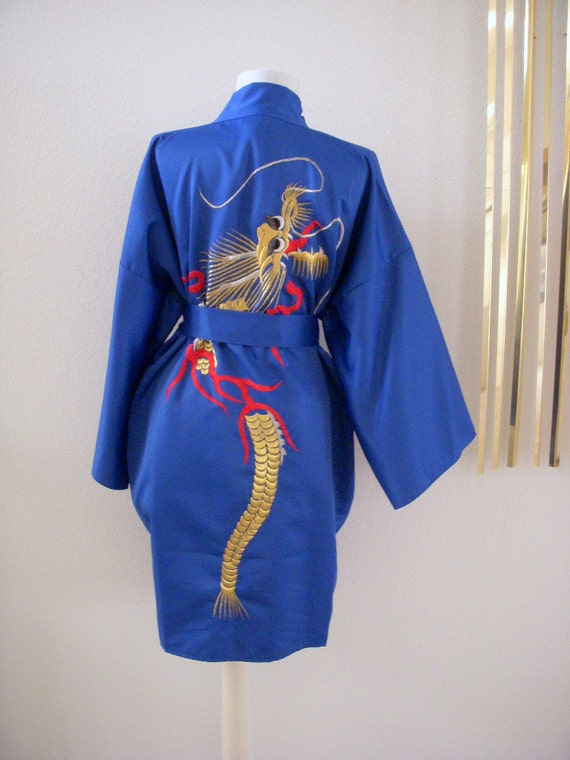 Vintage 60s Blue Kimono Robe with Embroidered Dragon Made in Japan Size Small Medium Large