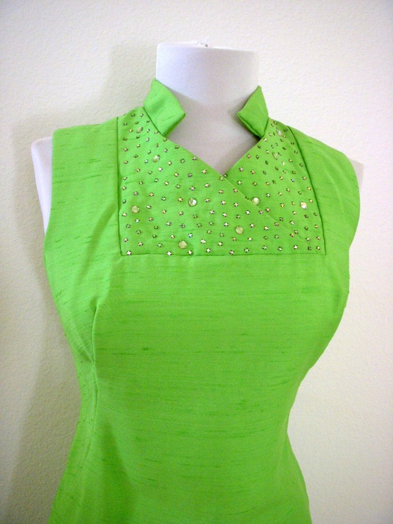 RESERVED Vintage 50s Silk Sheath Dress in Lime Green with Rhinestones Rockabilly Wiggle Dress Metal Zipper Size Small to Medium estimated