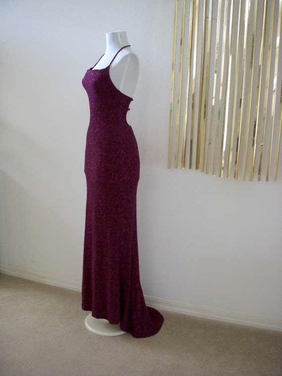 80s Sparkling Cranberry Evening Dress with Train Metallic Avant Garde Vintage Party Maxi Mermaid Dress Size Small to X Small 3 4