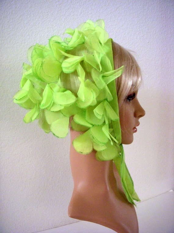 RESERVED Vintage 60s Mod Chiffon Triangle Head Scarf GoGo Lime Green Petal Hippie Scarf