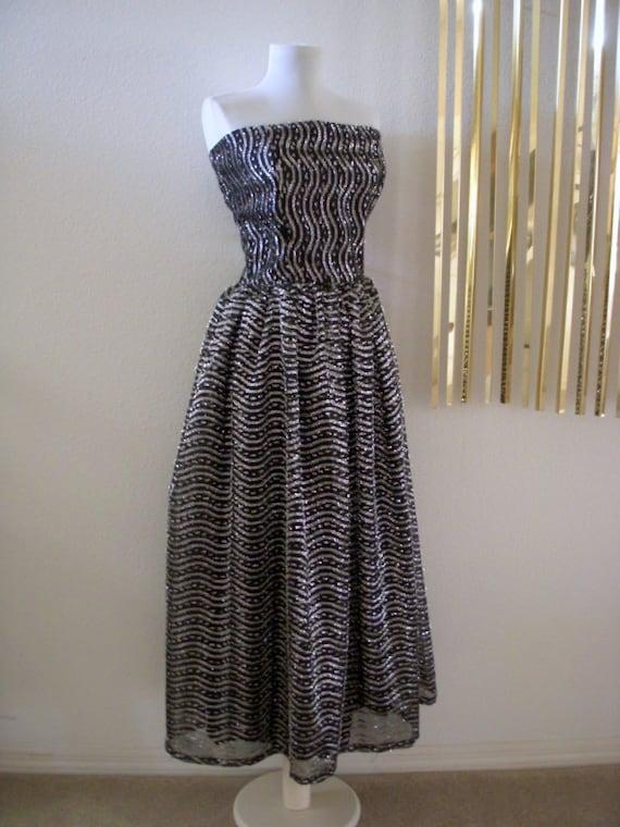 Vintage 70s Black and Silver Party Dress Metallic Maxi Strapless Dress Size Medium estimated