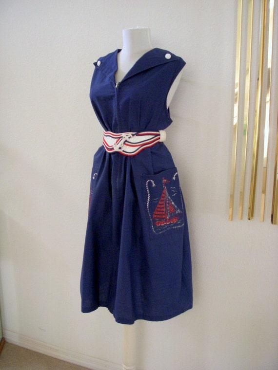 Vintage 50s Navy Blue Sailor Shift Dress Nautical House Dress Metal Zipper Size X Large to Plus