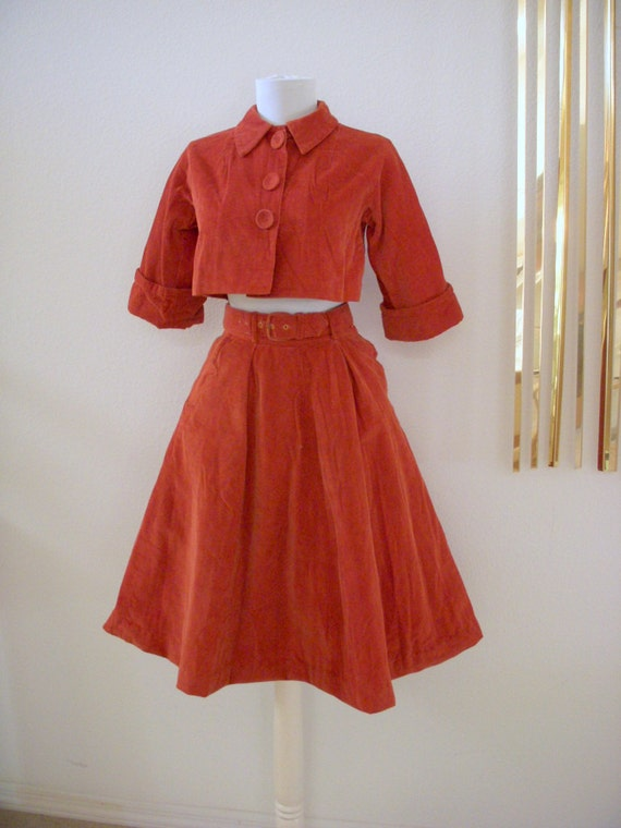 Fabulous 50s Corduroy Skirt and Bolero Vintage Brown Rockabilly Skirt and Jacket by Johhny Lee Size Small to X Small 0 - 2