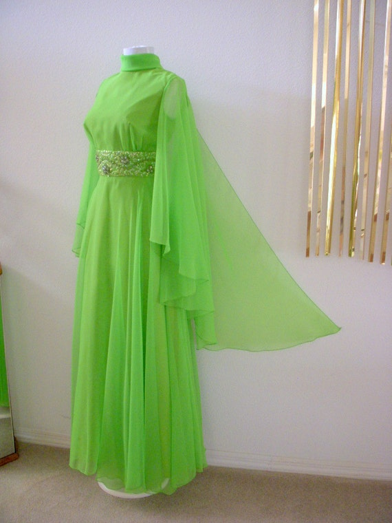 Vintage 60s Green Mod Grecian Party Dress with Huge Chiffon Cape Green Maxi Boho Dress Size Medium estimated