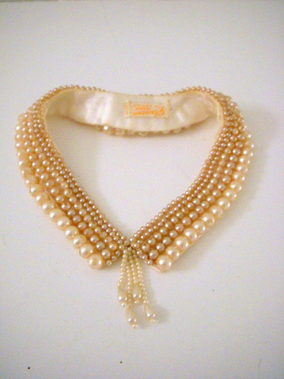 50s Vintage Pearl Collar Necklace Ivory Faux Pearl Cluster Collar Made In Japan