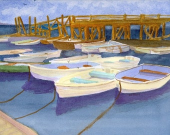 Boats at dock in Kittery Point , Maine; matted watercolor print, gift bag, card